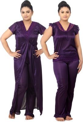 Fabme Women Nighty with Robe(Purple, Purple)