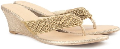 Catwalk Women GOLD Wedges at flipkart