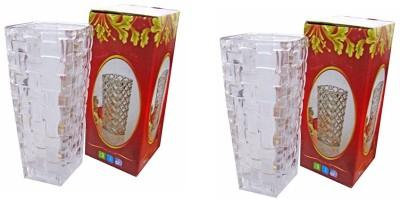 Fourwalls Elegant Designer Plastic Flower Pot (White, 36 cm tall) Plastic Vase(14 inch, White)