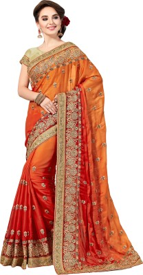 M.S.Retail Embroidered Bollywood Satin Saree(Orange)