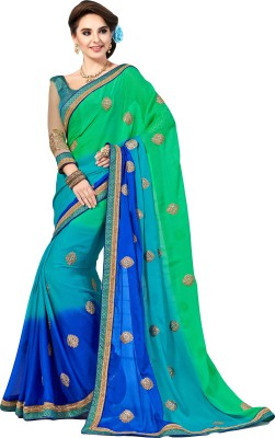 M.S.Retail Embroidered Bollywood Art Silk Saree(Blue, Green)