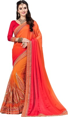 M.S.Retail Embroidered Bollywood Satin, Chiffon Saree(Red, Orange)