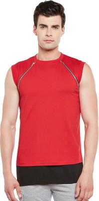 Gritstones Solid Men Round Neck Red, Black T Shirt