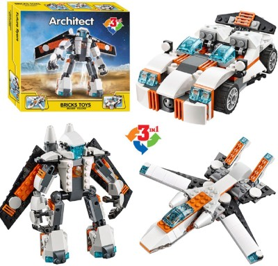 bfa4118adeb Montez Decool 237 Pcs Futuristic Robot Sports Car And Spoiler Jet Building  Block Construction Set Toys