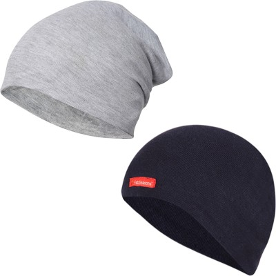 66a36e8102e FabSeasons Solid Skull cap and Beanie Cap of Cotton Cap(Pack of 2)