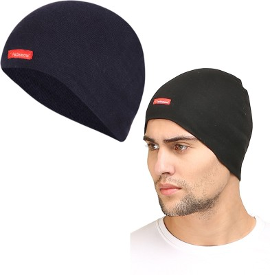 FabSeasons Solid Cotton Skull Cap, ideal for all Summer & Winters. Can be used under Helmet.(Blue, Black) Cap(Pack of 2)