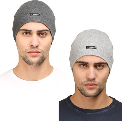 FabSeasons Solid Cotton Skull Cap, ideal for all Summer & Winters. Can be used under Helmet.(Gray, Darkgray) Cap(Pack of 2)