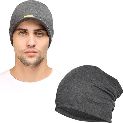 FabSeasons Solid Skull cap and Beanie Cap of Cotton Cap(Pack of 2)