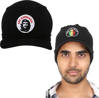 9ab66fc9e9d 60% OFF on FabSeasons Solid Black Cotton Skull Cap Cap(Pack of 2) on  Flipkart