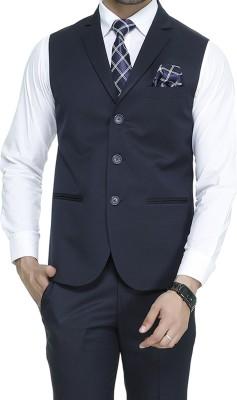 ManQ Solid Men Waistcoat