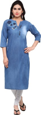 Kvsfab Self Design Women Straight Kurta(Blue)