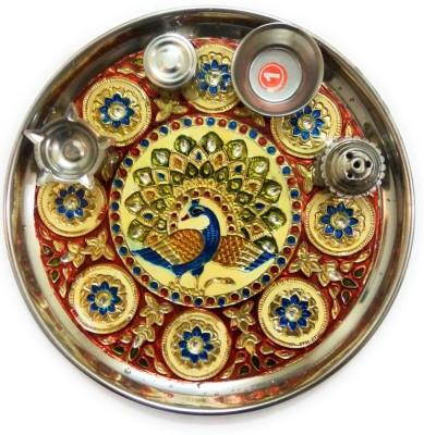 HOUZZPLUS handicraft handmade pooja thali with kumkum box incense stick holder and diya holder Aluminium Pooja & Thali Set(1 Pieces, Multicolor)  available at flipkart for Rs.339