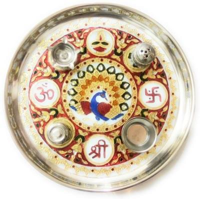 HOUZZPLUS handicraft handmade pooja / puja thali with kumkum box incense stick holder and diya holder Aluminium Pooja & Thali Set(1 Pieces, Multicolor)  available at flipkart for Rs.365