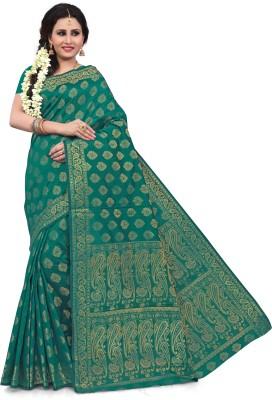 RUHIN Woven, Solid Banarasi Cotton Silk, Art Silk, Jacquard Saree(Green)