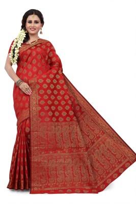 RUHIN Woven, Solid Banarasi Cotton Silk, Art Silk, Jacquard Saree(Red)