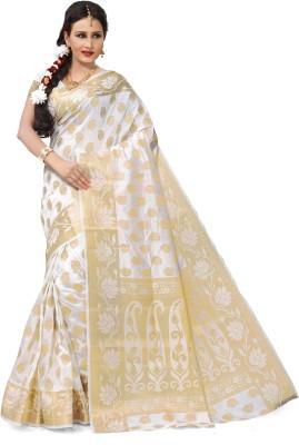 RUHIN Woven, Solid Banarasi Raw Silk, Art Silk, Jacquard Saree(White)