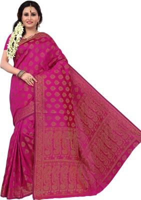 RUHIN Woven, Solid Banarasi Tussar Silk, Art Silk, Jacquard Saree(Beige)