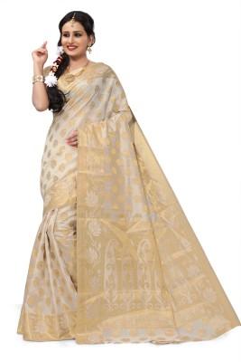 RUHIN Woven, Solid Banarasi Cotton Silk, Art Silk, Jacquard Saree(Magenta)