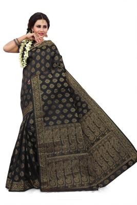 Saree Swarg Solid Banarasi Art Silk Saree(Green)