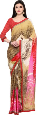 Saara Digital Prints, Printed Daily Wear Crepe Saree(Multicolor)