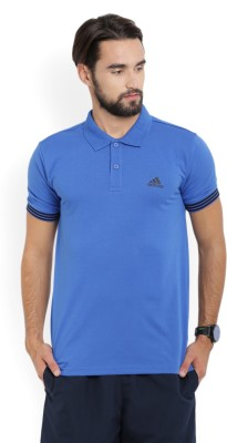 ADIDAS Solid Men Polo Neck Grey T-Shirt
