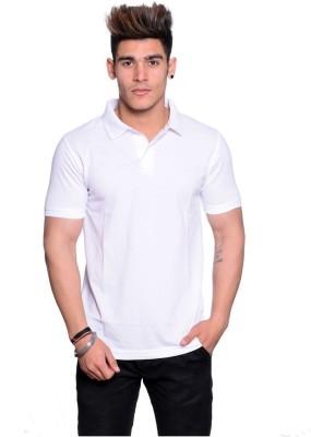Illusion Solid Men Polo Neck White T-Shirt