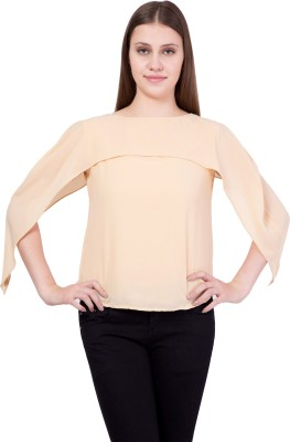 Khhalisi Party 3/4th Sleeve Solid Women's Beige Top