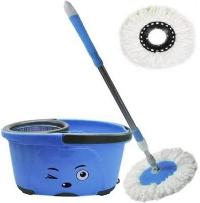 ShopyBucket Smiley Steel Spin Bucket With Wheel-9 Mop Set
