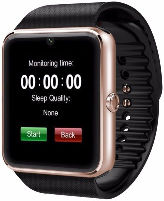 Wokit WKT GT08-299 phone Golden Smartwatch(Black, Strap, Regular)  available at flipkart for Rs.2999