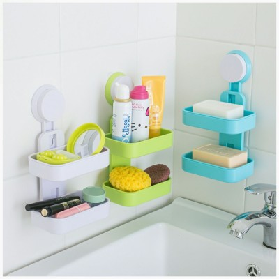 NK-STORE Hanging Double Layer Soap Box Holder With Suction Cup(Multicolor)