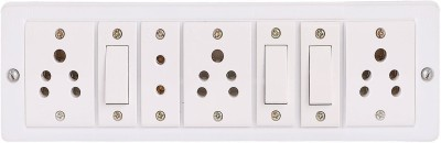 Bahul Power strip extension multi outlet board 2 m fitted with Anchor and Havells Switches( 3 Switches+3 Socket+ 1 two pin) 4 Socket Surge Protector(White)