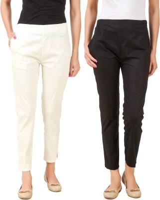 Q-Rious Regular Fit Women Black, Cream Trousers