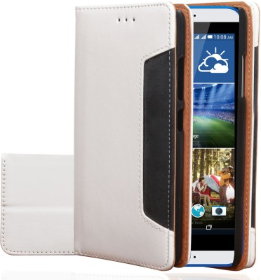 Stylabs Flip Cover for HTC Desire 825(Royal White, Leather)