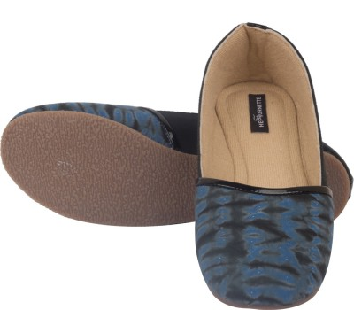 Hepburnette Turkish Delight - Blue Black Shibori Espadrille Bellies For Women(Blue)