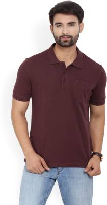 John Players Solid Men's Polo Neck Maroon T-Shirt