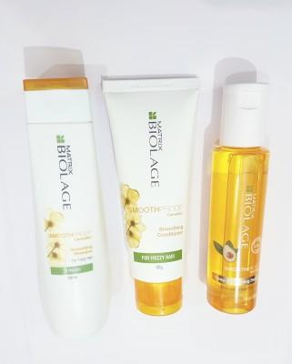 Matrix Biolage SmoothProof Smoothing Combo Of Shampoo Conditioner And Serum(Set of 3)