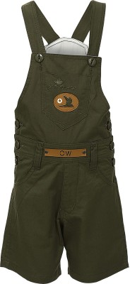 Benext Dungaree For Boys Solid Cotton(Green)