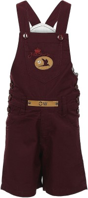 Benext Dungaree For Boys Solid Cotton(Maroon)