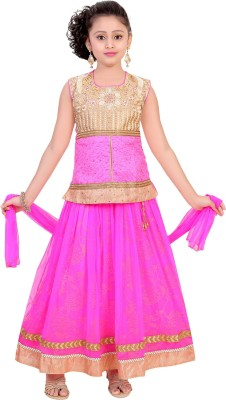 Saarah Girls Lehenga Choli Ethnic Wear Embellished Lehenga, Choli and Dupatta Set(Pink, Pack of 1) at flipkart