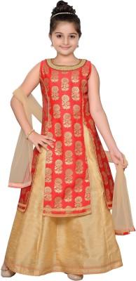Adiva Girls Lehenga Choli Ethnic Wear, Western Wear Self Design Lehenga, Choli and Dupatta Set(Red, Pack of 1) at flipkart