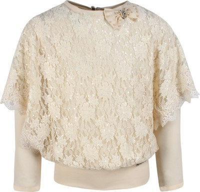 Cutecumber Baby Girls Party Lace Full Sleeve Top(Beige, Pack of 1) at flipkart