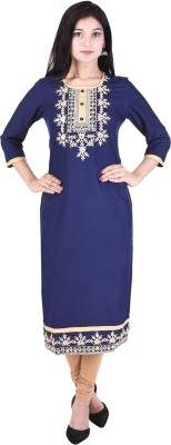 The Style Story Embroidered Women Straight Kurta(Blue)