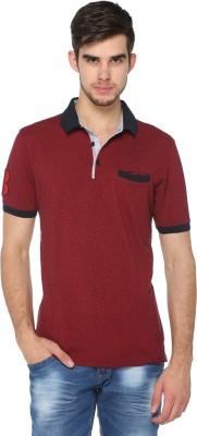 HARBOR N BAY Self Design Men's Polo Neck Maroon T-Shirt