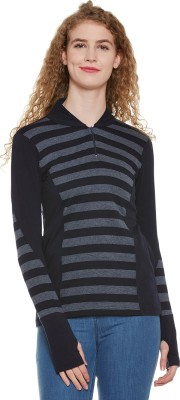 Hypernation Striped Women Mandarin Collar Black, Grey T Shirt