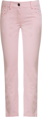 UFO Skinny Fit Girls Pink Trousers at flipkart