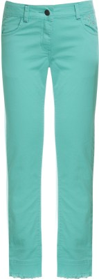 UFO Skinny Fit Girls Green Trousers at flipkart