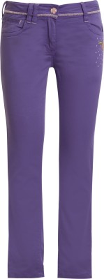 UFO Skinny Fit Girls Purple Trousers at flipkart