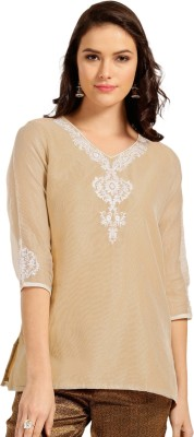 Anouk Casual Embroidered Women Kurti(Beige)