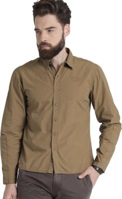 Roadster Men Solid Casual Brown Shirt at flipkart