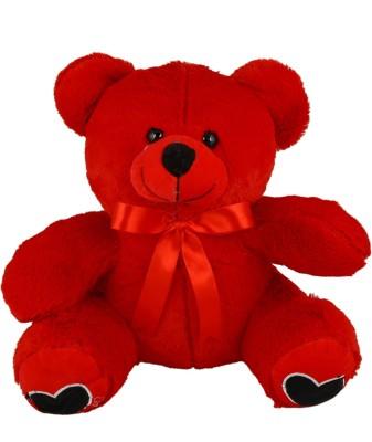Sana Teddy Sitting With Fancy Ribbon cm 50   50 cm Red Sana Soft Toys